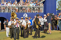 A New Orleans jazz band leads winners Scott Piercy (USA) and Billy Horschel (USA) back onto the 18th green for the trophy presentation following Round 4 of the Zurich Classic of New Orl, TPC Louisiana, Avondale, Louisiana, USA. 4/29/2018.<br /> Picture: Golffile | Ken Murray<br /> <br /> <br /> All photo usage must carry mandatory copyright credit (&copy; Golffile | Ken Murray)