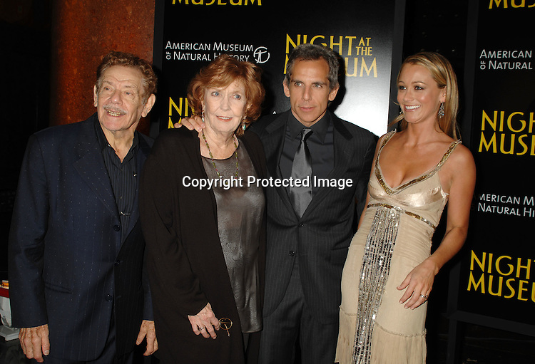 "Jerry Stiller, Anne Meara, Ben Stiller,and wife Christine Taylor..at The World Movie Premiere of ""Night At The Museum"" and the official launch of the Natural History Museum's sleeepover program on December 17, 2006 at The American Museum of Natural History in New York...Robin Platzer, Twin Images"
