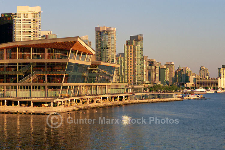 Vancouver Convention and Exhibition Centre (West Facility) and Highrise Buildings along Downtown City Waterfront, Vancouver, BC, British Columbia, Canada - Port of Vancouver Harbour