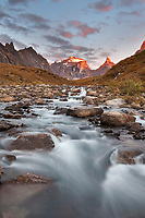 Morning light on Xanadu and Arial peaks, Arrigetch creek, Arrigetch Peaks, Gates of the Arctic National Park, Alaska.