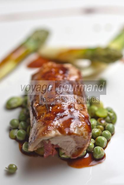 Europe/France/2B/Haute Corse/Balagne/Calvi:  Cabri cuit à basse température, jeunes légumes mijotés aux herbes du maquis, recette de Thomas d'Arcangelo,  Hôtel-Restaurant: La Signoria