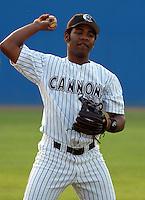 Third baseman Edwin Encarnacion (23) of the Potomac Cannons, a Cincinnati Reds farm team, taken May 30, 2003, at Pfitzner Stadium in Woodbridge, Virginia. (Tom Priddy/Four Seam Images)