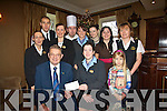 Staff at Ballygarry Hotel have donated their wages to the Kerry Hospice Foundation to help those diagnosed with cancer. .Pictured Front L-R Chairman of Kerry Hospice Foundation, Ted Moynihan with Ballygarry Staff Marianne Barron and Emilija Valiukaite.Middle L-R Marie O'Mahony, Helen McCarthy, Majella O'Dwyer, Aoife Murphy and Brid O'Donnell .Back L-R Rimantas Romaska, David Baitson and Miriam Ferriter
