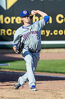 South Bend Cubs pitcher Justin Steele (21) warms up before the game against the Great Lakes Loons on May 18, 2016 at Dow Diamond in Midland, Michigan. Great Lakes defeated South Bend 5-4. (Andrew Woolley/Four Seam Images)