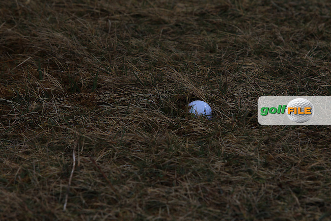 Sean Flanagan (Co. Sligo) with a plugged ball on the 15th fairway during Matchplay Round 2 of the West of Ireland Amateur Open Championship at the Co. Sligo Golf Club in Rosses Point on Sunday 27th March 2016.<br /> Picture:  Golffile / Thos Caffrey