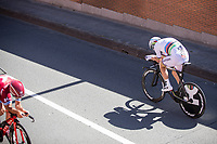 Time Trial World Champion Tony Martin (GER/Katusha Alpecin) crossing a teammate during his race.<br /> <br /> Baloise Belgium Tour 2017<br /> Stage 3: ITT Beveren - Beveren (13.4km)