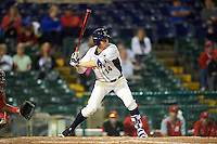 Pitt Panthers shortstop Charles LeBlanc (14) at bat during a game against the Ohio State Buckeyes on February 20, 2016 at Holman Stadium at Historic Dodgertown in Vero Beach, Florida.  Ohio State defeated Pitt 11-8 in thirteen innings.  (Mike Janes/Four Seam Images)