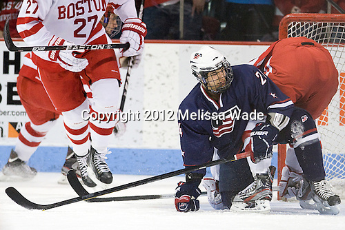 The visiting US National Team Development Program's Under-18 team tied the Boston University Terriers 3-3 on Sunday, January 8, 2012, at Agganis Arena in Boston, Massachusetts.