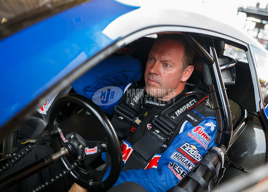 Jul 23, 2017; Morrison, CO, USA; NHRA pro stock driver Jason Line during the Mile High Nationals at Bandimere Speedway. Mandatory Credit: Mark J. Rebilas-USA TODAY Sports