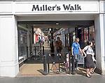 Miller's Walk modern shopping arcade in the town of Fakenham, Norfolk, England