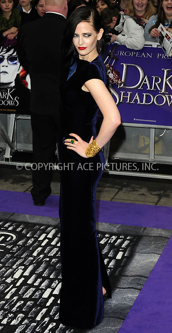 WWW.ACEPIXS.COM . . . . .  ..... . . . . US SALES ONLY . . . . .....May 9 2012, London....Eva Green at the premiere of 'Dark Shadows' held at The Empire Cinema on May 9 2012 in London ....Please byline: FAMOUS-ACE PICTURES... . . . .  ....Ace Pictures, Inc:  ..Tel: (212) 243-8787..e-mail: info@acepixs.com..web: http://www.acepixs.com