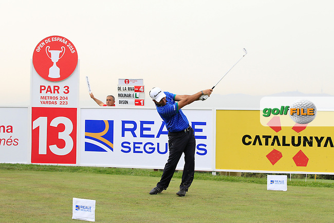 Edward Molinari (ITA) on the 13th tee during Round 1 of the Open de Espana  in Club de Golf el Prat, Barcelona on Thursday 14th May 2015.<br /> Picture:  Thos Caffrey / www.golffile.ie