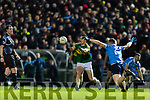 Stephen O'Brien Kerry in action against John Small Dublin in the National League in Austin Stack park on Saturday night.