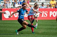 Kansas City, MO - Saturday September 9, 2017: Desiree Scott, Morgan Brian during a regular season National Women's Soccer League (NWSL) match between FC Kansas City and the Chicago Red Stars at Children's Mercy Victory Field.