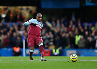30th November 2019; Stamford Bridge, London, England; English Premier League Football, Chelsea versus West Ham United; Angelo Ogbonna of West Ham United   - Strictly Editorial Use Only. No use with unauthorized audio, video, data, fixture lists, club/league logos or 'live' services. Online in-match use limited to 120 images, no video emulation. No use in betting, games or single club/league/player publications