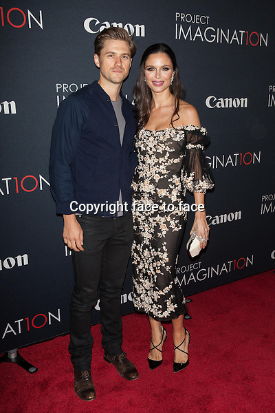 NEW YORK, NY - OCTOBER 24, 2013: Aaron Tveit and Georgina Chapman attend the Premiere Of Canon's Project Imaginat10n Film Festival at Alice Tully Hall on October 24, 2013 in New York City. <br />