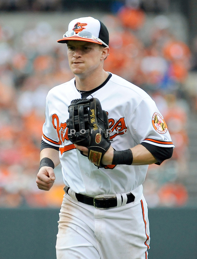 Baltimore Orioles Nate McLouth (9)  during a game against the Detroit Tigers on June 2, 2013 at Oriole Park in Baltimore, MD. The Orioles beat the Tigers 4-2.