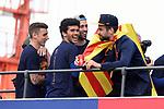 League Santander 2017/2018.<br /> Rua de Campions FC Barcelona.<br /> Lucas Digne, Carles Ale&ntilde;a, Sergio Busquets &amp; Gerard Pique.