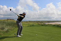 Ronan Mullarney (Galway) on the 11th tee during the Final of the AIG Irish Amateur Close Championship 2019 in Ballybunion Golf Club, Ballybunion, Co. Kerry on Wednesday 7th August 2019.<br /> <br /> Picture:  Thos Caffrey / www.golffile.ie<br /> <br /> All photos usage must carry mandatory copyright credit (© Golffile | Thos Caffrey)
