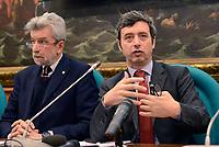 Roma, 29 Marzo 2017<br />  Cesare Damiano e Andrea Orlando, candidato alla segreteria nel Congresso del PD, durante la presentazione della Conferenza programmatica della sua mozione.