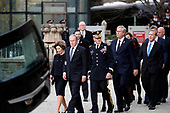 Former President George W. Bush, Laura Bush and other family members including former Florida Gov. Jeb Bush and Neil Bush, right, arrive for a State Funeral for former President George H.W. Bush at the National Cathedral, Wednesday, Dec. 5, 2018, in Washington. <br /> Credit: Alex Brandon / Pool via CNP