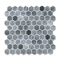 3 cm Hex, shown in polished Greystoke is part of New Ravenna's Studio Line of ready to ship mosaics.
