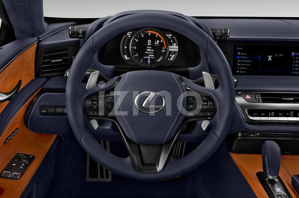 Car pictures of steering wheel view of a 2018 Lexus LC 500 4 Door Sedan