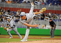 Florida International University right handed pitcher Logan Dodds (34) plays against the Miami Marlins, which won the game 5-1 on March 7, 2012 at Miami, Florida. .