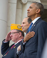 United States President Barack Obama prepares to make remarks in the Memorial Amphitheater at Arlington National Cemetery in Arlington, Virginia after laying a wreath at the Tomb of the Unknown Soldier on Veteran's Day, Friday, November 11, 2016.  From left to right: Robert Swan, national commander of Polish Legion of American Veterans, US Secretary of Veterans Affairs Robert A. McDonald, and President Obama.<br /> Credit: Ron Sachs / Pool via CNP /MediaPunch