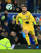17th March 2019, Goodison Park, Liverpool, England; EPL Premier League Football, Everton versus Chelsea; Olivier Giroud of Chelsea chases after the ball