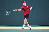 Stanford - January 12, 2015: John Morrissey during the Stanford tennis season opener vs UC Davis at Taube Family Tennis Stadium Tuesday afternoon.