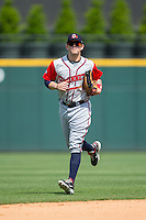 Gwinnett Braves center fielder Brandon Snyder (7) jogs off the field between innings of the game against the Charlotte Knights at BB&T BallPark on May 22, 2016 in Charlotte, North Carolina.  The Knights defeated the Braves 9-8 in 11 innings.  (Brian Westerholt/Four Seam Images)