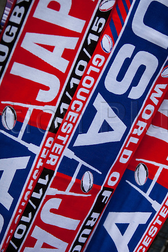 11.10.2015. Kingsholm Stadium, Gloucester, England. Rugby World Cup. USA versus Japan. Detail of souvenir scarves on sale before kickoff.