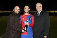Man of the match Luke Howell of Dagenham  during Dagenham & Redbridge vs Aldershot Town, Vanarama National League Football at the Chigwell Construction Stadium on 10th February 2018