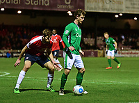 Lincoln City's Adam Marriott shields the ball from York City's Shaun Rooney<br /> <br /> Photographer Andrew Vaughan/CameraSport<br /> <br /> The Buildbase FA Trophy Semi-Final First Leg - York City v Lincoln City - Tuesday 14th March 2017 - Bootham Crescent - York<br />  <br /> World Copyright &copy; 2017 CameraSport. All rights reserved. 43 Linden Ave. Countesthorpe. Leicester. England. LE8 5PG - Tel: +44 (0) 116 277 4147 - admin@camerasport.com - www.camerasport.com