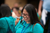 "Sara Nguyen shares a laugh with fellow members at lunch during ""Circle the City with Service,"" the Kiwanis Circle K International's 2015 Large Scale Service Project, on Wednesday, June 24, 2015, in Indianapolis. (Photo by James Brosher)"