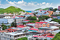 Colorful houses in  Charllote Amalle. St. Thomas. US Virgin Islands.