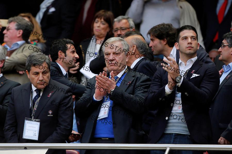 Fernando Gomes Tomislav Karadzic Vanja Udovicic Uefa EURO 2016 qualifying football match between Portugal and Serbia in Lisboa, Portugal on March 29. 2015.  (credit image & photo: Pedja Milosavljevic / STARSPORT)