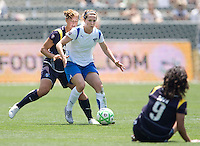 Boston Breakers Kelly Schmedes moves around LA Sol's Manya Makoski (l) and Han Duan (ground).  The Boston Breakers and LA Sol played to a 0-0 draw at Home Depot Center stadium in Carson, California on Sunday May 10, 2009.   .