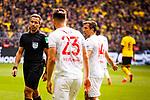 11.05.2019, Signal Iduna Park, Dortmund, GER, 1.FBL, Borussia Dortmund vs Fortuna Düsseldorf, DFL REGULATIONS PROHIBIT ANY USE OF PHOTOGRAPHS AS IMAGE SEQUENCES AND/OR QUASI-VIDEO<br /> <br /> im Bild | picture shows:<br /> Schiedsrichter | Referee Tobias Stieler mit Niko Giesselmann (Fortuna #23) und Markus Suttner (Fortuna #14), <br /> <br /> Foto © nordphoto / Rauch