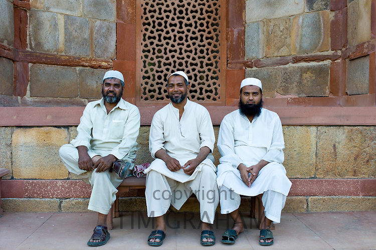 Muslim Visitors at Humayuns Tomb, World Heritage Monument built 16th Century, in New Delhi, India