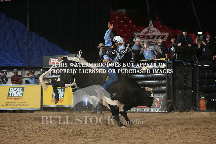 Dener Barbosa rides K-C Bucking Bulls/Cody & Farley Nash's Captain Obvious for 83 during the second round of the RTPR Velocity tour PBR. Photo by Andy Watson