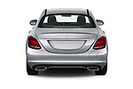Straight rear view of a 2017 Mercedes Benz C Class C350e 4 Door Sedan stock images