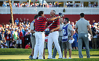 Phil Mickelson (Team USA) celebrates winning at the 17th with team-mate Matt Kuchar (Team USA) during the Saturday Afternoon Four-Balls, at the 41st Ryder Cup 2016, at Hazeltine National Golf Club, Minnesota, USA.  01View of the 10th2016. Picture: David Lloyd | Golffile.