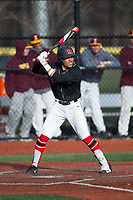 Jawuan Harris (1) of the Rutgers Scarlet Knights at bat against the Iona Gaels at City Park on March 8, 2017 in New Rochelle, New York.  The Scarlet Knights defeated the Gaels 12-3.  (Brian Westerholt/Four Seam Images)