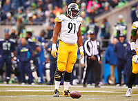 Stephon Tuitt #91 of the Pittsburgh Steelers in action against the Seattle Seahawks during the game at CenturyLink Field on November 29, 2015 in Seattle, Washington. (Photo by Jared Wickerham/DKPittsburghSports)