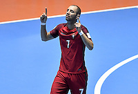 CALI -COLOMBIA-01-10-2016: Cardinal (Der) de Portugal celebra  después de anotar el segundo gol de su equipo durante partido entre Irán y Portugal por el 3er y 4to puesto de la Copa Mundial de Futsal de la FIFA Colombia 2016 jugado en el Coliseo del Pueblo en Cali, Colombia. / Cardinal (L) celebrates after scoring the second goal of his team during the match between Iran and Portugal for the third and fourth place of the FIFA Futsal World Cup Colombia 2016 played at Metropolitan Coliseo del Pueblo in Cali, Colombia. Photo: VizzorImage/ Gabriel Aponte / Staff