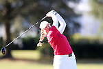WILMINGTON, NC - OCTOBER 27: NC State's India Clyburn (ENG) on the 14th tee. The first round of the Landfall Tradition Women's Golf Tournament was held on October 27, 2017 at the Pete Dye Course at the Country Club of Landfall in Wilmington, NC.