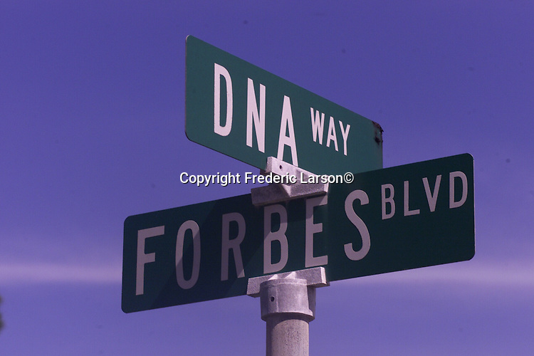 DNA way and Forbes Blvd sign located in San Bruno California.