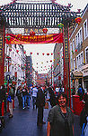AWFP7A Large arches at entrance to  Chinatown Soho London England